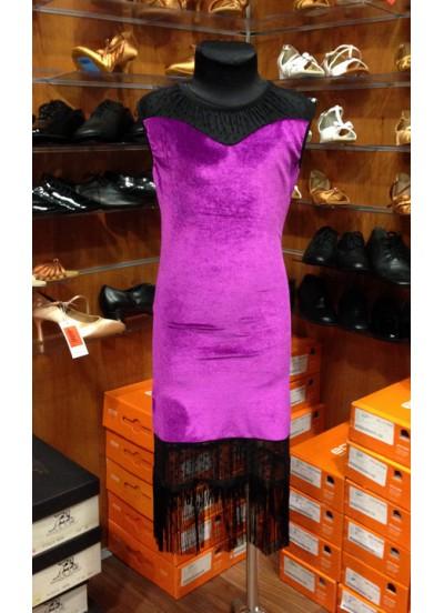 Платье детское Латина ПЛ220-13 Dance.me, Украина, Бархат+сетка, Фиолетовый