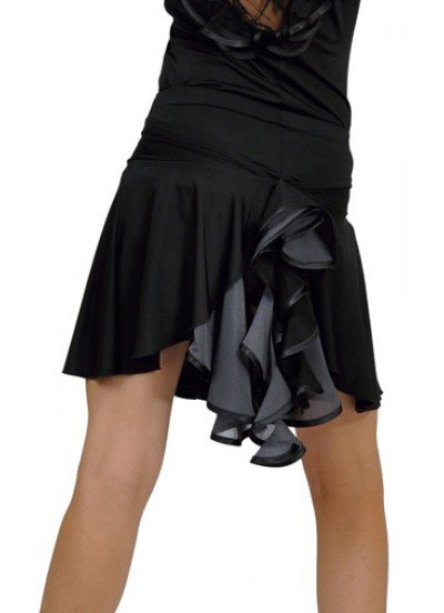 Dance Me Юбка для латины ЮЛ94-3 женская, масло / сетка, серый