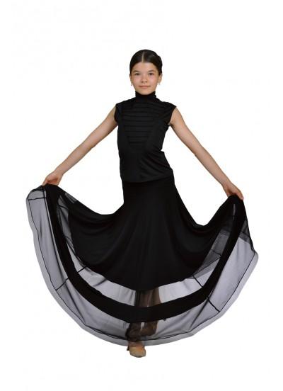 Dance Me Юбка детская для стандарта ЮС100-Кри, масло / сетка, черный