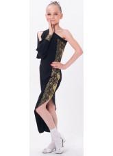 Dance Me Платье детское ПЛ169-4, масло / кружево, черный, золото