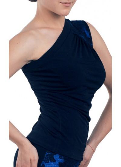 Dance Me Блуза женская БЛ174-4, масло / кружево, черный, голубой