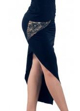 Dance Me Юбка для латины ЮЛ172-4 женская, масло / сетка / кружево, черный, золото