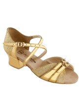 Обувь блок каблук 2002 Dance.me, Украина, золото парча голограм