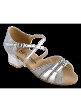 Обувь блок каблук 2002 Dance.me, Украина, серебро парча голограм