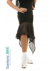 Юбка Латина ЮЛ21-13-10 Dance.me, Украина, Бархат+сетка, Черный