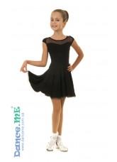 Платье Латина ПЛ334-6 Dance.me, Украина, Масло+сетка, Черный