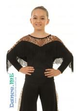 Блуза детская  БЛ218-2 Dance.me, Украина, Масло+сетка, Черный/Леопардовый