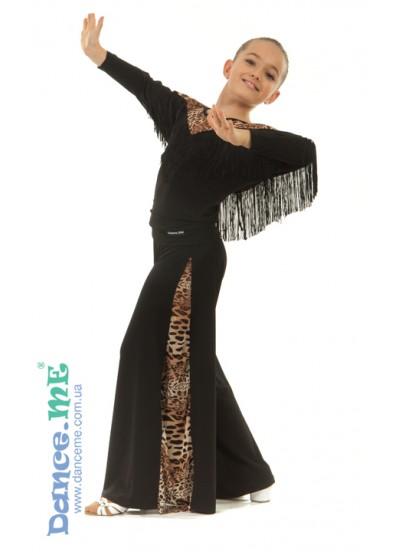 Брюки детские BRS211-2 Dance.me, Украина, Масло, Черный/Леопардовый