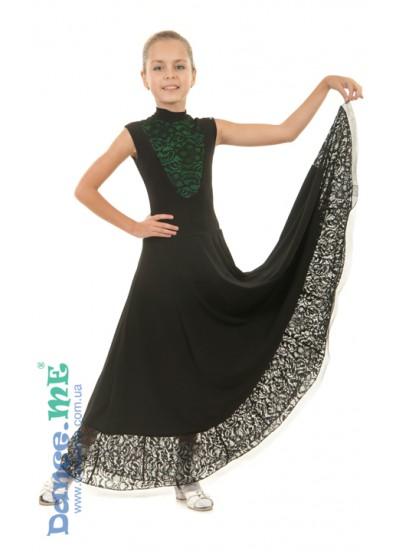 Платье женское  Стандарт ПС99-5-11 Dance.me, Украина, Масло+гипюр, Черный Зеленый