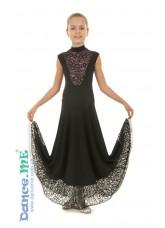 Платье женское Стандарт ПС99-5-11 Dance.me, Украина, Масло+гипюр, Черный Пудра
