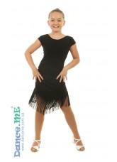 Платье Латина ПЛ237-6 Dance.me, Украина, Масло+сетка, бахрома, Черный