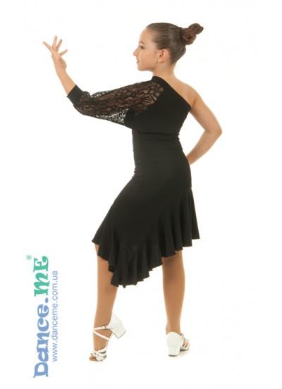 Платье Латина PL13-11 Dance.me, Украина, Масло+гипюр, Черный