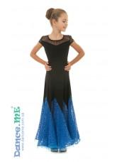 Платье женское Стандарт ПС262-11 Dance.me, Украина, Масло / гипюр, Черный / Электрик