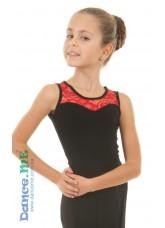 Блуза детская БЛ335-11 Dance.me, Украина, Масло+гипюр, Черный Красный