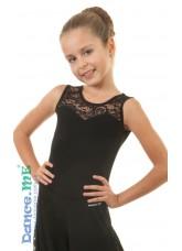 Блуза детская БЛ335-11 Dance.me, Украина, Масло+гипюр, Черный