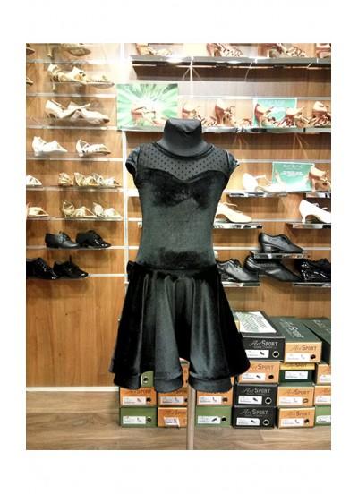 Детское платье для латины Dance Me PL334-13-6#, масло / сетка, цвет черный