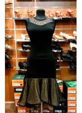 Блуза женская БЛ421 Dance.me, Украина, Масло+сетка+гипюр, Черный/Телесный